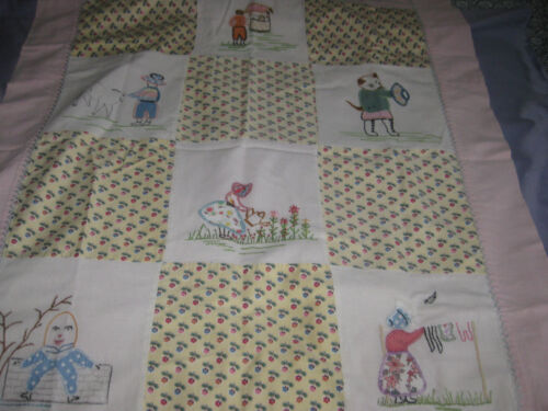 """Vintage Baby Bed Quilt 31"""" by 41"""" all hand stitched embroidery"""