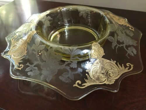 "Unusual Cambridge Apple Blossom Footed 12"" Bowl Etched Clear Gold Trim - Marked"