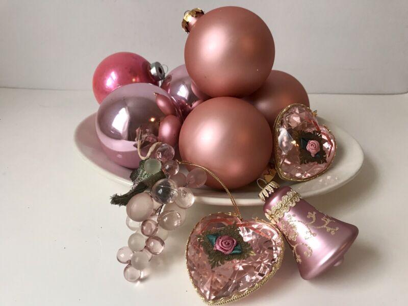 10 Pink Mauve Glass Ornaments Victorian Balls Heart Bell Grapes GKI W Germ Xmas