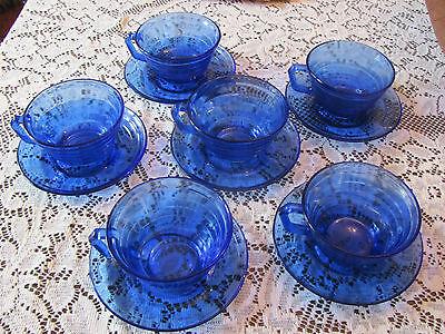 Moderntone Cobalt Blue 6 Cup and Saucer sets, Hazel Atlas - Excellent condition