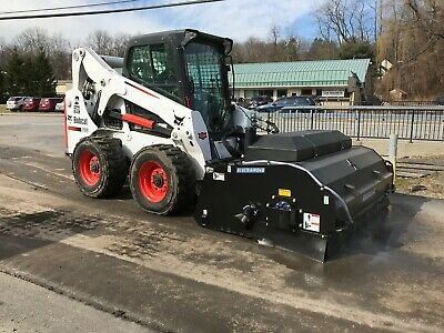 Skid Steer Sweeper Attachment 72 With Water Kit And Spray Pick Up Style 6
