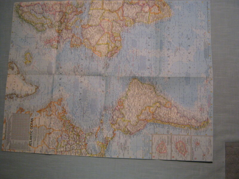 VINTAGE ATLANTIC OCEAN + OCEAN FLOOR MAP National Geographic June 1968 MINT