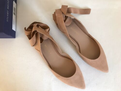 NIB size 85 Stuart Weitzman Supersonic Nude Suede Ballet Flat Shoes