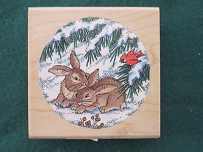 Stampendous Etchling Rubber Stamp Q043 - BUNNIES IN SNOW Round
