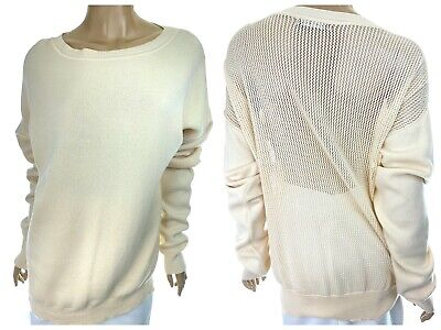 Baja East Ivory White Pullover Sweater Size 1 or S Open Weave Back Long Sleeve