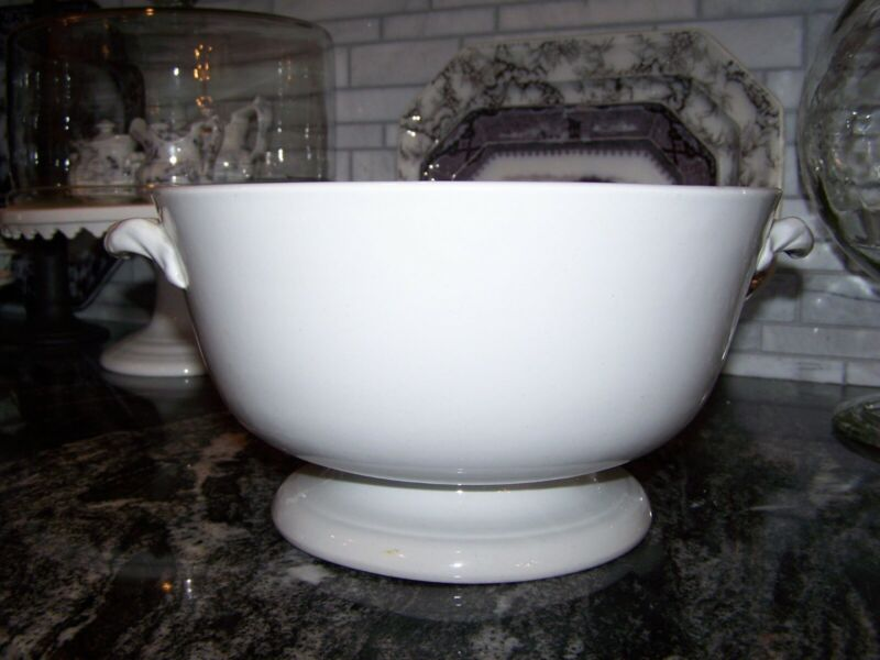 Antique White Ironstone Footed Punch Bowl w/ Handles Circa mid to late 1800s