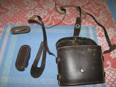 Leather Binocular Case with Strap & Accessories