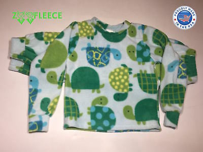 Sea Turtle Two Piece - ZooFleece Green Sea Ninja Turtles Print Boys Kids Pajama PJ Fleece Sweatsuit Art