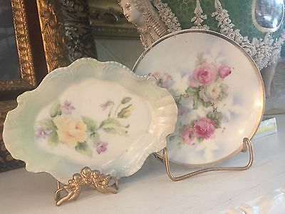 ANTIQUE, VINTAGE HAND PAINTED ROSES PLATES, GERMAN