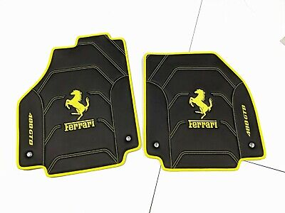 Ferrari 488 GTB, Spyder, F12, Portofino Eco Leather Floor Mats Black/Yellow,Logo