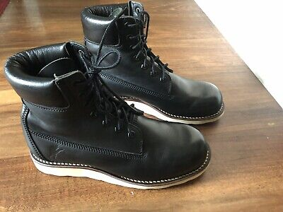 A BATHING APE BAPE Men's Black Leather 7Hole Boots Shoes Size US 8