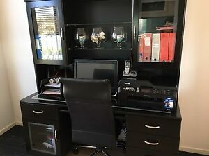Black glass desk and display hutch Coomera Gold Coast North Preview