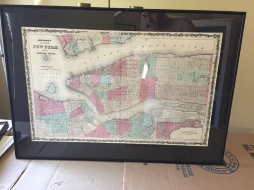 Johnson's map of New York City 1863 Brooklyn hand colored