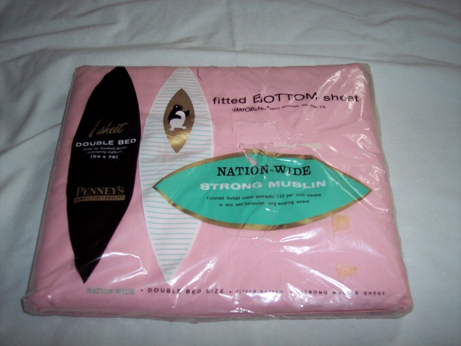 Nation Wide Sanforized Fitted Double Sheet Penney s 100 Cotton Muslin Pink Vtg - $21.00