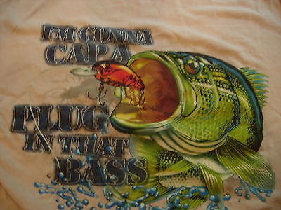 Columbia Bass Fishing T shirt. Sz. Small. Humor, Boating, Outdoors