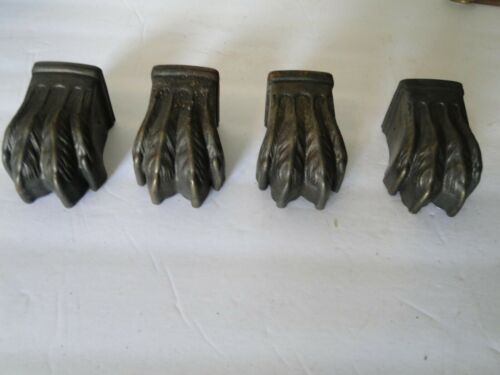 4 Metal Vintage Table Leg Claw Foot Caps