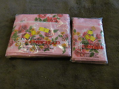 Gorgeous Pink Roses Cannon Monticello NEW Full Size Flat Sheet & Pillowcases