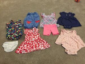 Euc lot O-3 month girl dresses and rompers