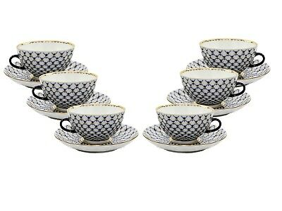 Russian Cobalt Blue Net 12-pc Tea Cup Set St Petersburg 24K Gold Bone China Cobalt Net Bone China