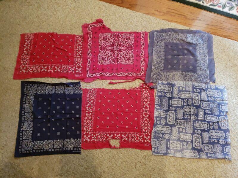 LOT of 6 Vintage SOFT Color Fast Cotton Biker BANDANA Hanky Handkerchiefs USA