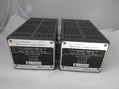 2 Lambda Lcs-a-15 Regulated Power Supply Pri 120 Vac Sec 15 Vdc 1.8a