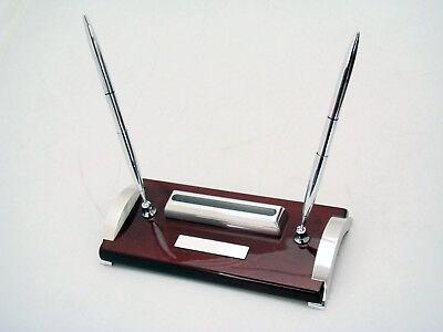 Jcf Mahogany Piano Finish Aluminum Base Double Pen Stand W Business Card Holder