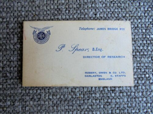 Vintage The Owen Organisation Auto Parts / British Racing Motors Business Card