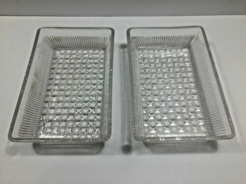 2 Vintage Refrigerator Glass Rectangle Dishes - no lids