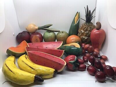 Vintage Wooden Faux Fruits & Vegetables 19 Piece Lot MCM