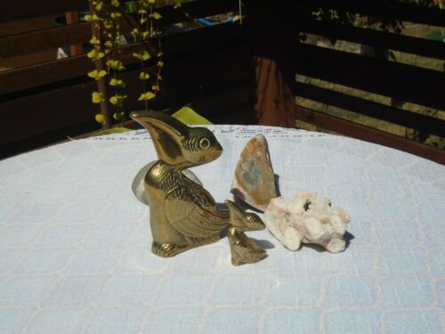 2 Vintage Brass Pelican Figurines Highly Detailed