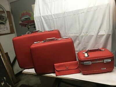 3 Pc Vintage American Tourister  Red Pink Luggage Hard Shell  Suitcases with Key