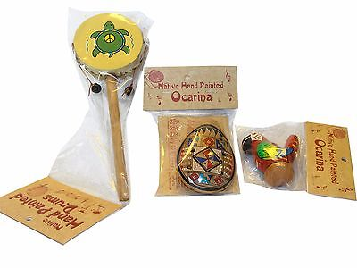Peruvian Set Ocarina, Spin Drum, Water Chirp Clay Whistle Combo Fair Trade Mix