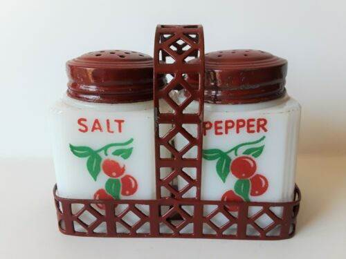 1940s TIPP CITY RED CHERRY MILK GLASS SALT & PEPPER in Fitted METAL BASKET TRAY