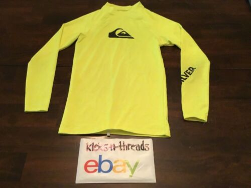 QUIKSILVER RASHGUARD ( YOUTH SIZE LARGE ) LONGSLEEVE FLUORESCENT YELLOW PREOWNED