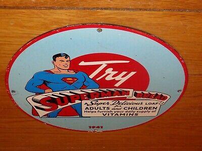 """VINTAGE 1941 SUPERMAN BREAD 11 3/4"""" PORCELAIN METAL COMIC BOOK GASOLINE OIL SIGN"""