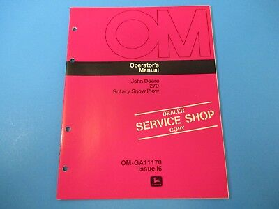 John Deere Operators Manual Om-ga11170 270 Rotary Snow Plow Issue I6 M5003