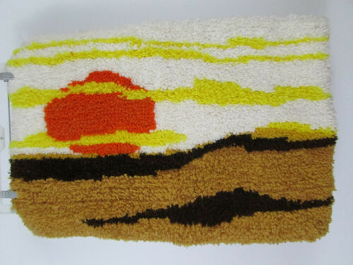 Sunset Orange Latch Hook Rug Wall Hanging Completed Finished