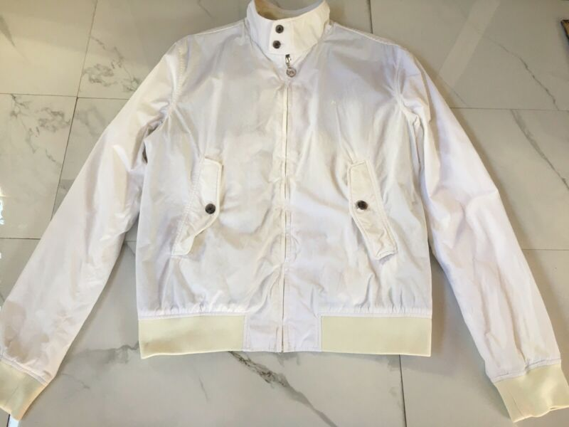 Men's J.Lindeberg Cotton Blend Full Zip Golf Windbreaker Vented Jacket White XL