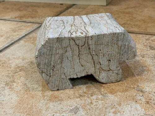 POLAR BEAR HANDCARVED STONE Paperweight GREAT VEINS MID-CENTURY ABSTRACT EUC