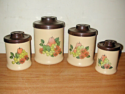 VINTAGE ATAPCO 4-PIECE ALUMINUM KITCHEN CANISTER SET WITH FRUIT & FLOWERS DESIGN