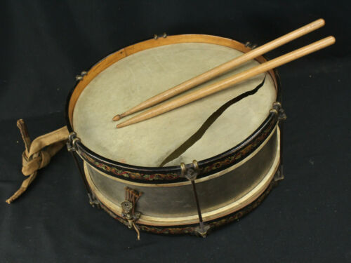 Beautiful Antique Snare Drum Painted Folk Art - Leedy? w/Drumsticks