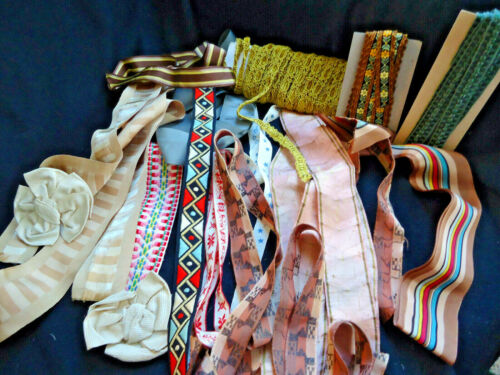 ANTIQUE FRENCH RIBBON & TRIM, CARDED TRIM, SILK, 16 DIFFERENT.  GORGEOUS COLORS