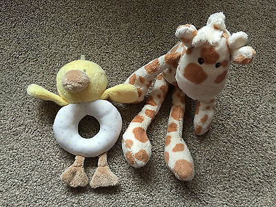 M&S MARKS & SPENCER GIRAFFE LONG LEGS SOFT TOY DUCK BABY HAND HELD RATTLE CUTE