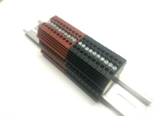 DIN Rail Terminal Block Power Distribution KN-T12 12 AWG 20A 600V Konnect-IT