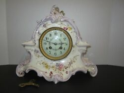 ANTIQUE FRENCH MARTI ET CIE PORCELAIN MANTEL CLOCK, 8 DAY, TIME AND STRIKE