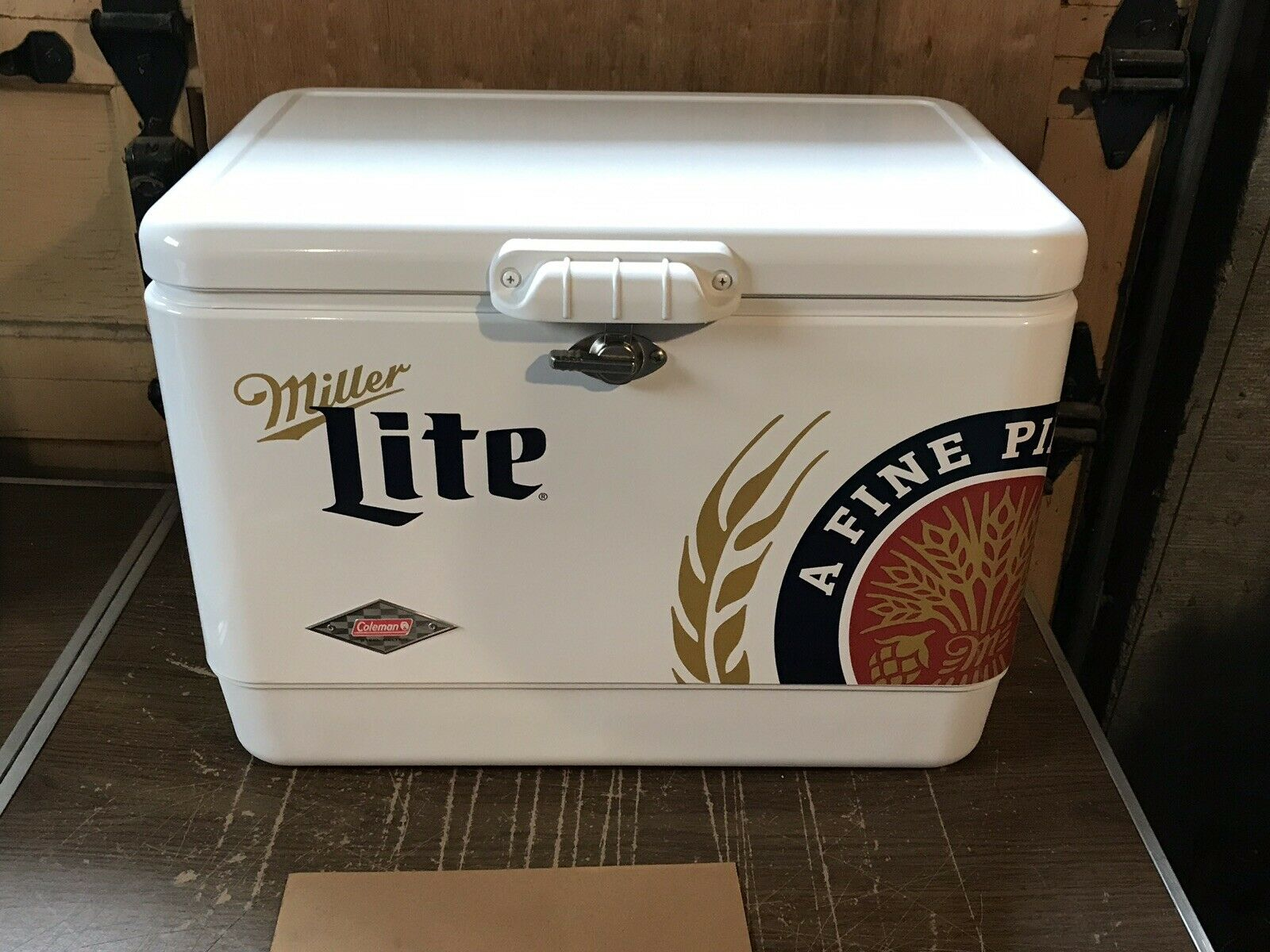 Coleman 54 Qt Capacity Miller Lite Steel Belted Portable Camping Cooler NEW