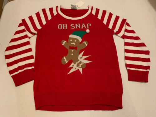 """""""OH SNAP"""" Gingerbread Christmas UGLY SWEATER Youth X Large"""