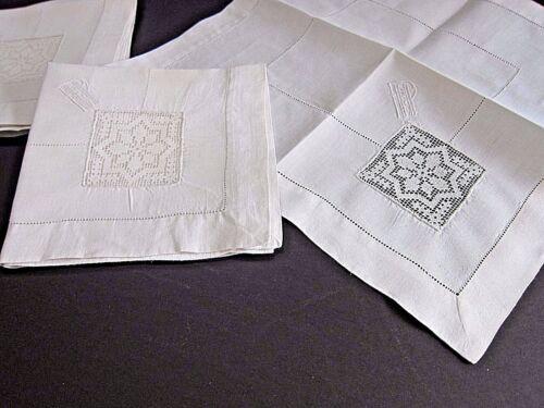 Vintage Italian Net Darned Insertion Lace~SNOWFLAKE  White Linen  Napkins (6)