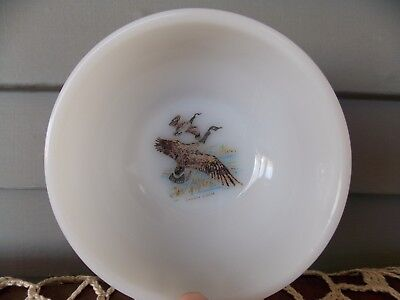 Vintage Fire King White Milk Glass Cereal Chili Bowl Game Bird Canada Goose