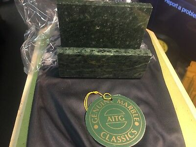 NEW In BOX Genuine Authentic GREEN MARBLE BUSINESS CARD HOLDER Beautiful Quality